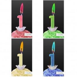 Świeczka cyferka z kolorowym płomieniem-1