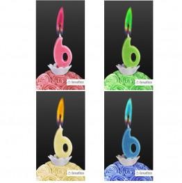 Świeczka cyferka z kolorowym płomieniem-6