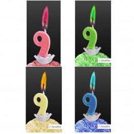 Świeczka cyferka z kolorowym płomieniem-9