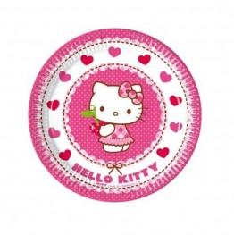 Talerzyki papierowe-Hello Kitty-20cm-8 sztuk