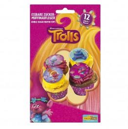 Cukrowe opłatki na muffiny-Trolls-12 sztuk