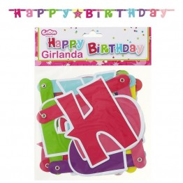 GIRLANDA HAPPY BIRTHDAY -RÓŻOWA