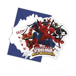 Zaproszenia na urodziny z koperta-Spiderman-6 sztuk