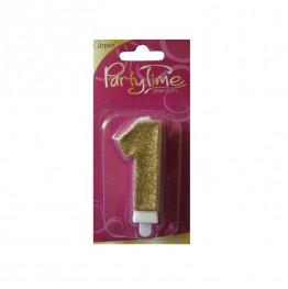 Świeczki urodzinowe cyferki w złotym brokacie 1