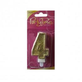 Świeczki urodzinowe cyferki w złotym brokacie 4