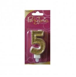 Świeczki urodzinowe cyferki w złotym brokacie 5