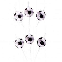 Słomki z medialonami-Football-6 sztuk