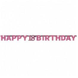 Banner urodzinowy 18 lat-różowy-213cm