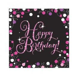 Serwetki papierowe Happy Birthday-różowe-16 sztuk