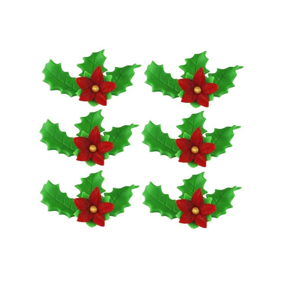 Zestaw świąteczny –gwiazda betlejemska +ostrokrzew