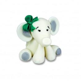 Biały słonik z kokardą