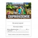 Zaproszenia urodzinowe Minecraft-10 sztuk